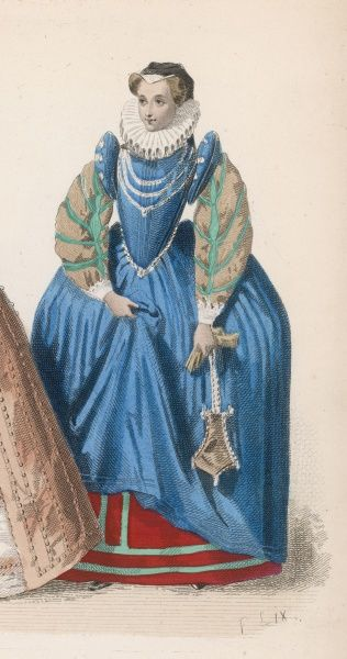 High ruff, slashed sleeves with shoulder-pieces, characterise the gown of this lady of the reign of Henri III