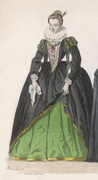This lady of the time of Henri IV seems almost choked by her ruff : her gown is sombre in colour but fringed and fitted with slashed sleeves