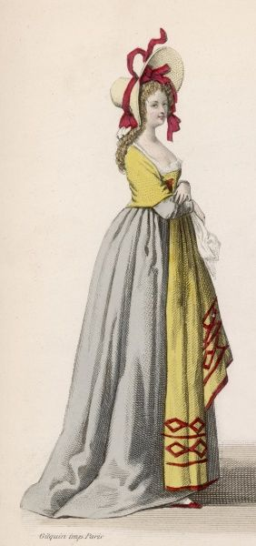 A simpler style characterises this Frenchwoman's dress and bonnet in the year the Revolution breaks out