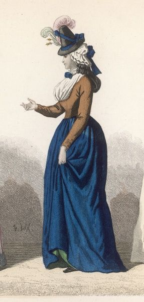The jaunty bonnet sets the tone of this outfit worn by a lady during the early years of the Revolution
