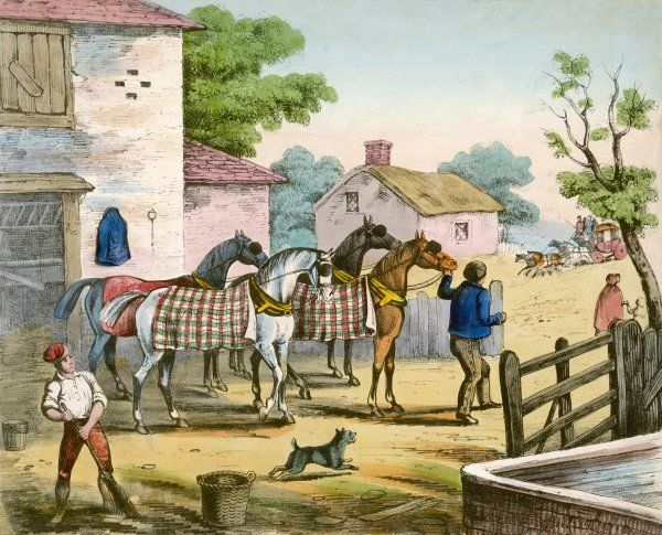 Bringing fresh horses out of the stable for a stagecoach at a posting inn