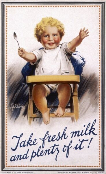Poster from the Empire Marketing Board promoting fresh milk, with a happy and healthy baby brandishing a spoon in a high chair