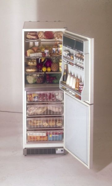 An incredibly well-stocked fridge-freezer! Date: 1974