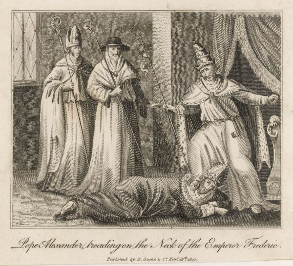 Emperor Friedrich I is humiliated by pope Alexander III, who treads on his neck as a sign of submission
