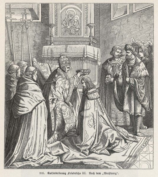 The Holy Roman Emperor FRIEDRICH III is crowned in Rome by Nicholaus V - the last emperor to go to Italy to be crowned by the Pope