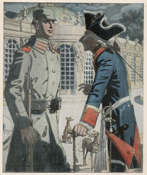 Friedrich der Grosse - described as 'the Father of Militarism' - encourages a fine, upstanding young soldier of World War One