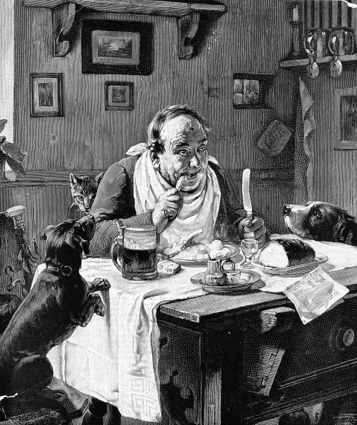 Engraving by an unknown artist showing a man at his dinner table eating chops, potatoes and bread watched by two hungry dogs and a cat. There is a tankard on the table next to him and he has a napkin around his neck