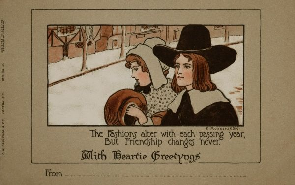 The Fashions alter with each passing year, But Friendship changes never -- a Christmas Greetings card by Ethel Parkinson, showing a couple in a snowy street, dressed in costume of a bygone age