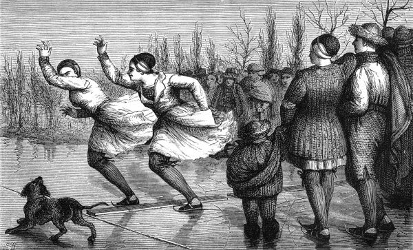 Women from Friesland, northern Holland, race on the ice. Date: 1871