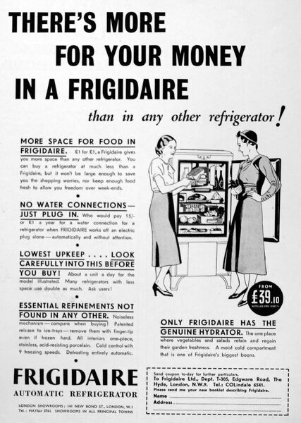 Advertisement from 1934 for a Frigidaire Automatic Refrigerator