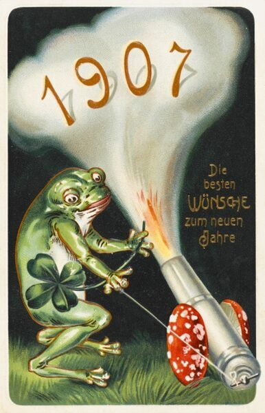 A wonderfully odd German New Years card, welcoming in the arrival of 1907. The illustration rather bizarrely depicts a frog (holding a lucky four-leafed clover) firing off a cannon (mounted on toadstool wheels)