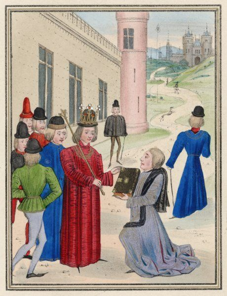 Froissart presents his book of love poems, 'The Romance of Meliador' to Richard II, on his return to England after an absence of twenty-five years