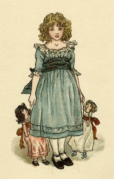 Frontispiece design, The Queen of the Pirate Isle, showing a little girl in a blue dress with a doll in each hand.  1886