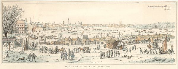 Frost fair on the Thames, London. People enjoying the varied activities and stalls