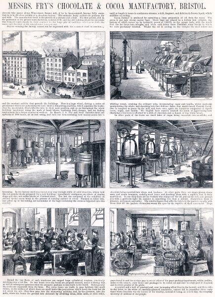 Advertisement for Fry's Chocolate and Cocoa Manufactory in Bristol showing illustrations of the roasting room, boiling sugar, grinding chocolate, the pan room, making bon bons and chocolate creams and finally the packing and weighing room