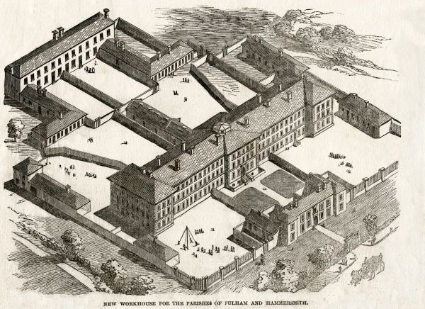 An architect's bird's-eye view of the Fulham and Hammersmith union workhouse, designed by Alfred Gilbert, and opened in 1849 on Fulham Palace Road, London. Date: 1849