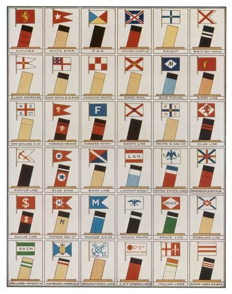 Funnels and house flags of various steam lines