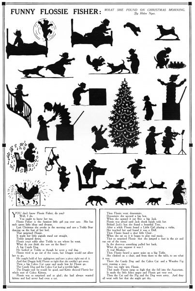 A sequential set of silhouette illustrations accompanying a poem, Funny Flossie Fisher by Helen Nyce depicting a little girl having a series of surprises on Christmas morning. Date: 1911
