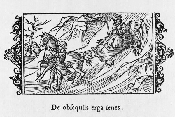 The Scandinavians of old would line their sledges with furs. Date: 1555