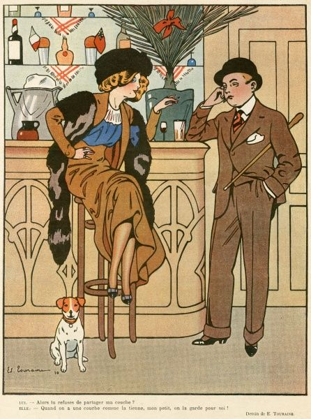 A young woman in a fur toque & stole sits cross-legged on a bar stool while chatting to a man in a bowler hat & lounge suit with large turn-ups on his trousers