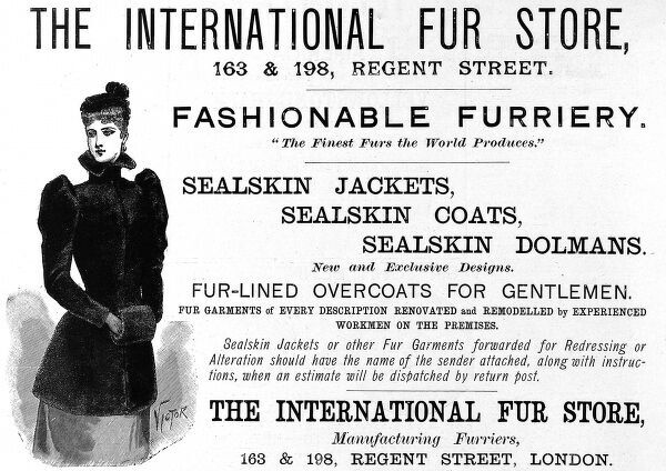 Advertisement for the International Fur Store of Regent Street from 1892
