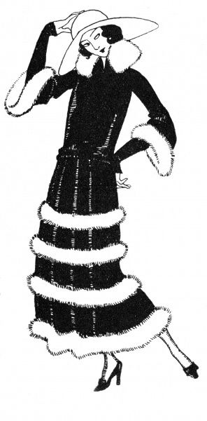 Low-waisted dress with a gathered skirt trimmed with rows of fur, a high stand fall fur collar, tight full length under-sleeves & fur trimmed bell sleeve. Date: 1923