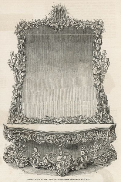 Giled pier table and glass by Holland and Sons, profusely embellished with various devices, including three copper-faced boys playing various instruments amongst aquatic foilage. This piece was exhibited at the 1851 Great Exhibition