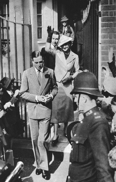 Prince George Duke of Kent, together with his fiancee, Princess Marina of Greece pictured leaving the studio of Philip de Laszlo where Princess Marina had been sitting for a portrait prior to her marriage to Prince George on 29 November 1934