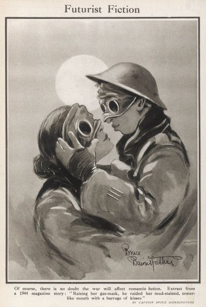 A prescient view of the future showing two lovers wearing gas masks through which they attempt a romantic kiss. Drawn at the end of World War I