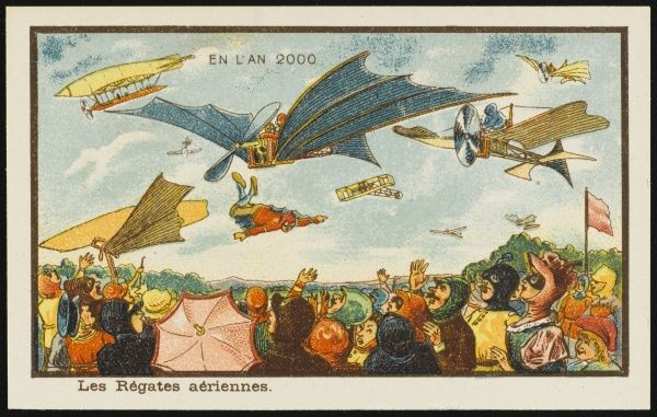A futuristic aerial regatta, with an amazed crowd gazing up at an array of flying machines