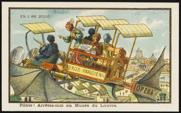 A futuristic airbus in Paris, with aerofoils and bat-like wings. 'Pilot, drop me off at the Louvre !&#39