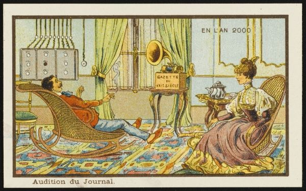 A futuristic news broadcast, where a couple relax in their sitting room and listen to the day's news from a gramophone-like machine