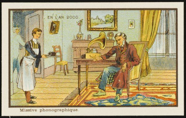 In the year 2000, people will send messages one to another in the form of wax cylinders, recorded on the sender's gramophone, delivered by messenger, then played by the recipient