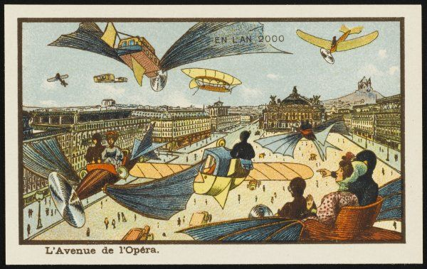 A futuristic street scene in the Avenue de l'Opera, Paris, with people travelling about in flying machines