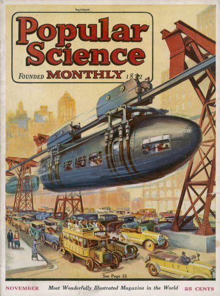 This is how Mr Fletcher Felts suggests we tackle the inner- city traffic problem - monorails whizzing over the jammed cars, whirring smoothly past our windows