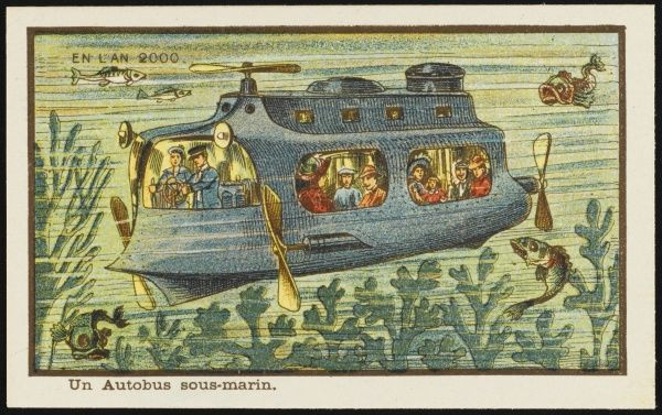A futuristic underwater bus, moving through the water by means of propellers. The passengers look out of the windows, enjoying the view