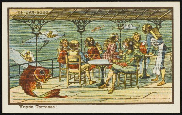 A futuristic underwater cafe. The waiter and customers are wearing diving helmets and oxygen packs. More customers are arriving and departing in submarines. A large fish watches, wondering if he will soon end up on a plate