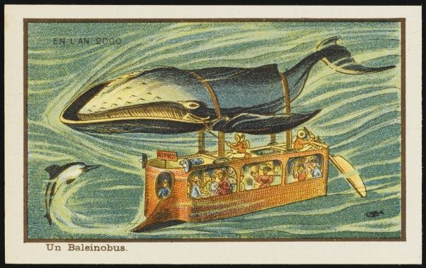 A futuristic whale bus, hanging from a large whale by two straps. It also has a propeller at the back