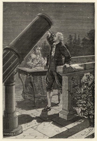SIR FREDERICK WILLIAM HERSCHEL German-English astronomer discovering the planet Uranus in 1781, while his sister Caroline Lucretia takes notes