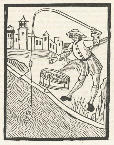 A fifteenth century angler makes a catch - illustration in Wynkyn de Worde's 'Treatyse of Fysshynge with an Angle&#39