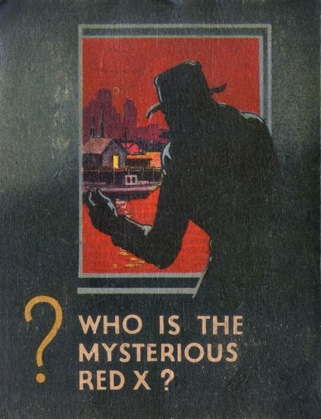 Back cover of a pulp fiction thriller called G-Man vs the Red X showing a sinister shadowy figure looking through a window at a riverside scene bathed in red. Date: 1936