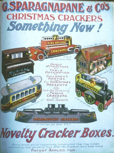 Page from a catalogue advertising the various ingenious novelty Christmas cracker boxes available from G Sparagnapane and Co in the form of a piano, cottage, tram, submarine, train and fire engine