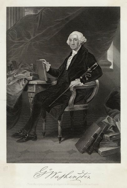 GEORGE WASHINGTON First president of the United States sitting at his desk