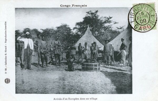 Gabon, Africa (at this time one of the four territories of French Equatorial Africa) - The arrival of a European into the village