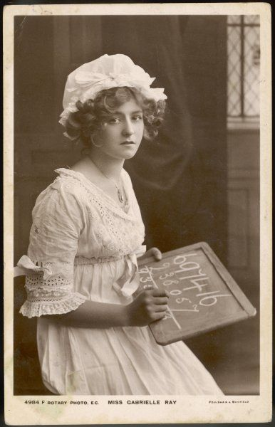 GABRIELLE RAY Actress, doing her sums on a school slate