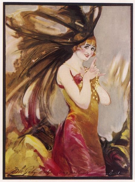 French actress and music hall artiste, Gaby Deslys painted by Barribal. Date: 1910