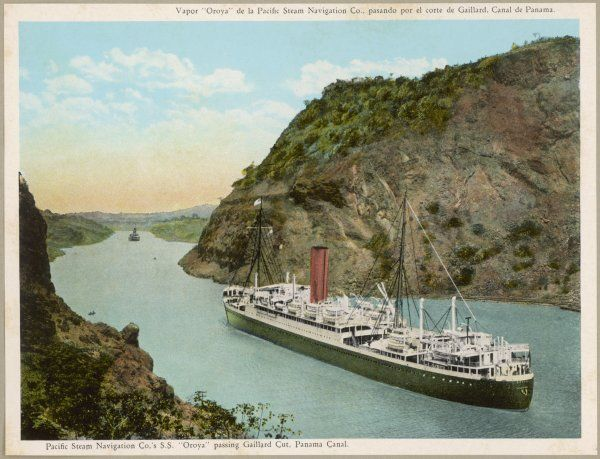 The S.S. 'Oroya' of the Pacific Steam Navigation Company passes through the Gaillard Cut