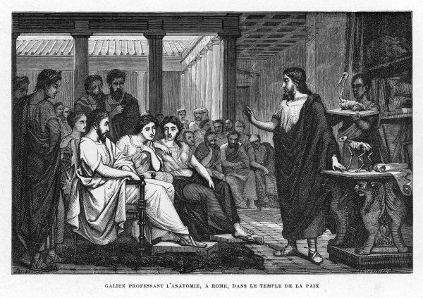 GALEN Greek physician in Rome, founder of scientific physiology ; depicted lecturing in the Temple of Concord, Rome