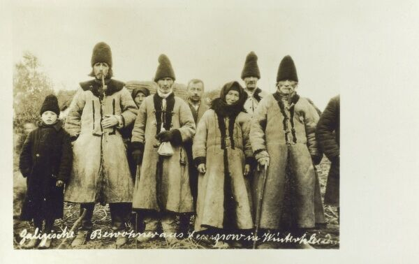 Galicia - Ukraine - local Galician types in thick coats Date: circa 1910s