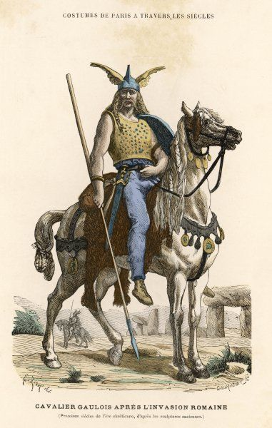 A Gallic horseman, armed with sword and spear, at the time of the Roman invasion of Gaul